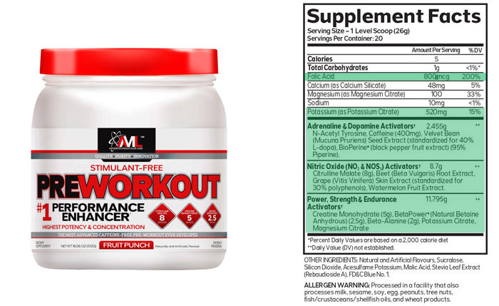 AML Pre Workout nutrition info