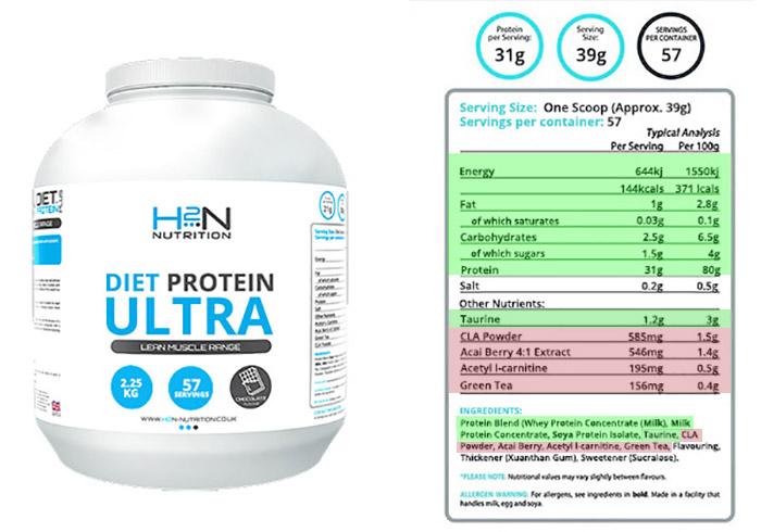 h2n nutrition diet protein ultra