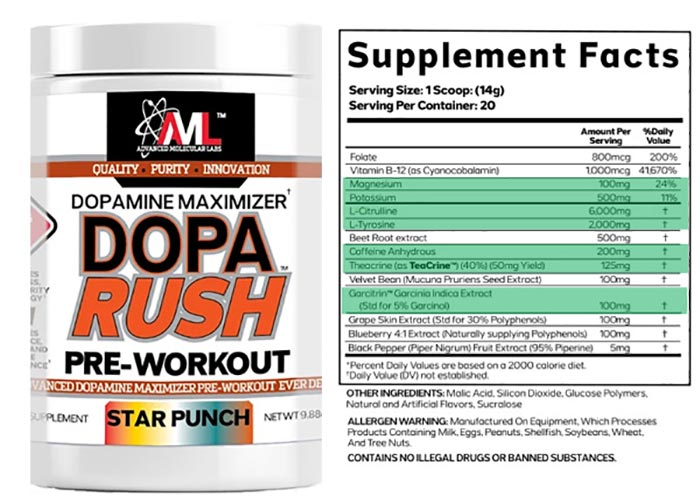 AML Dopa Rush Pre Workout review
